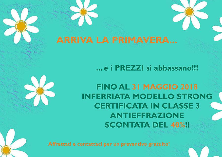 PROMOZIONE PRIMAVERA: inferriata STRONG certificata in classe 3 scontata del 40% fino al 31 Maggio 2018!